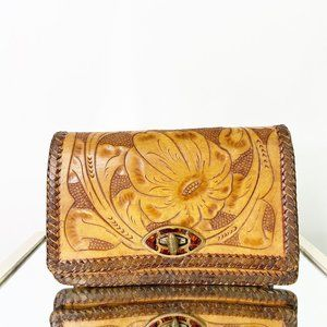 Vintage Hand Tooled Leather Purse Clutch FLAWED